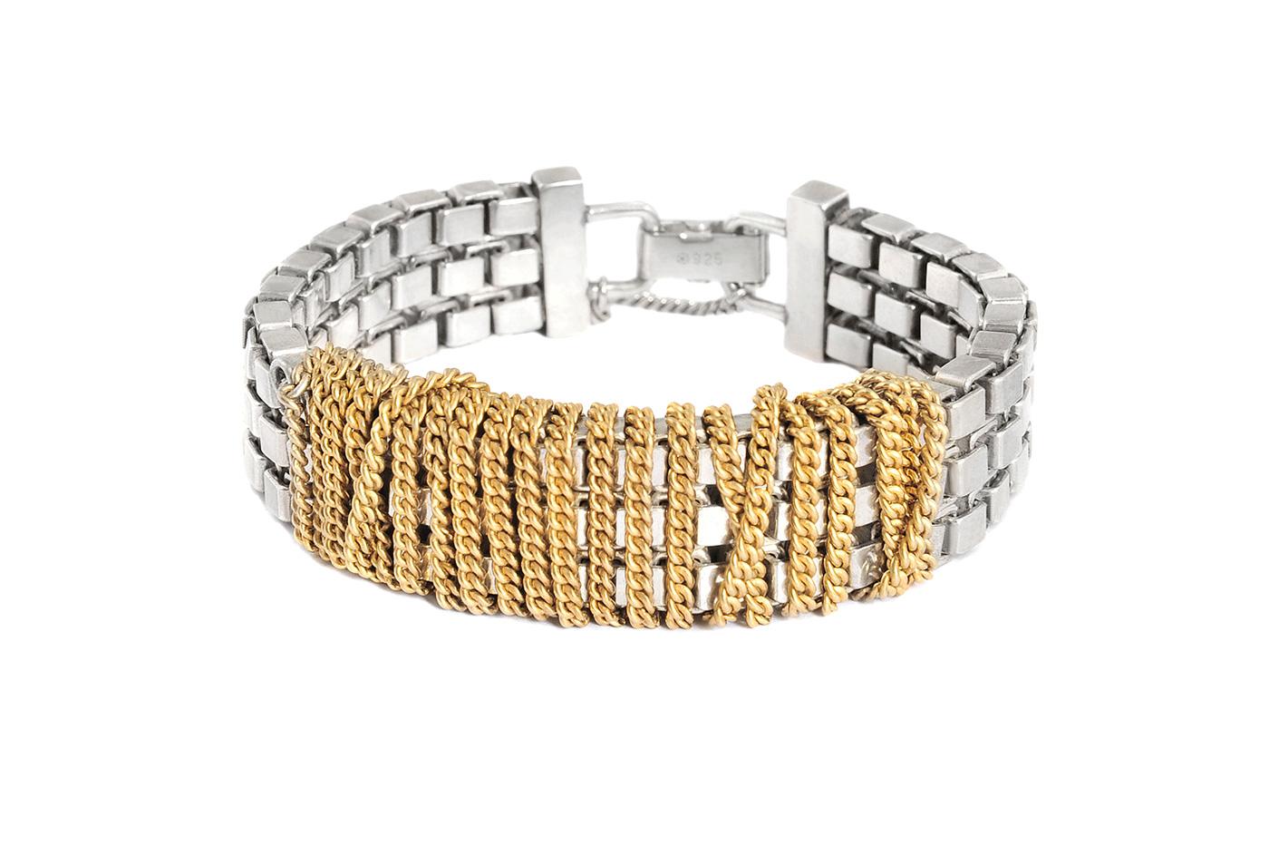Adeline Cacheux Jewelry Design Bracelet chaîne torsadée argent massif