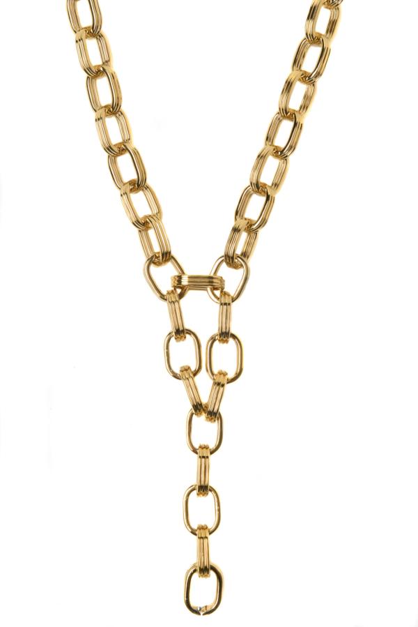 Sautoir chaîne en laiton doré 24 carats